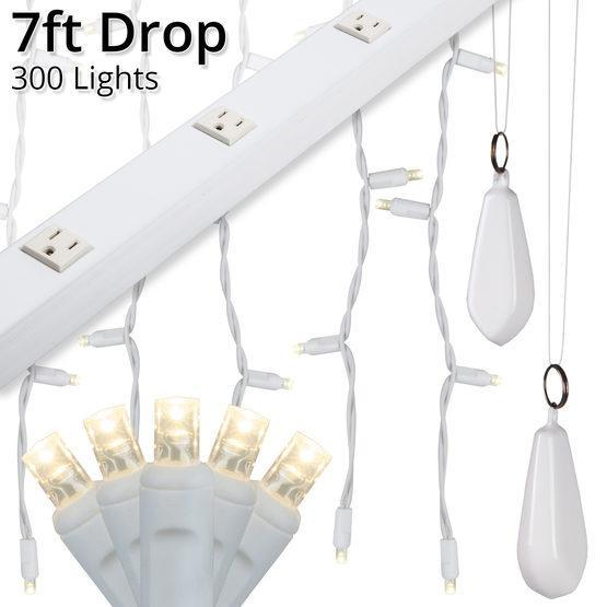 "5mm Warm White LED Light Curtain KIT - 7' Length - 300 Bulbs - 3.5"" Vertical Spacing - White Wire"