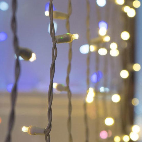 "5mm Warm White LED Light Curtain String - 25' Length - 50 Bulbs - 6"" Spacing - White Wire"