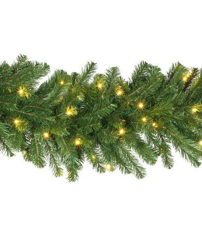 "9' x 18"" Olympic Pine Garland - Pre-Lit, LED - Warm White"