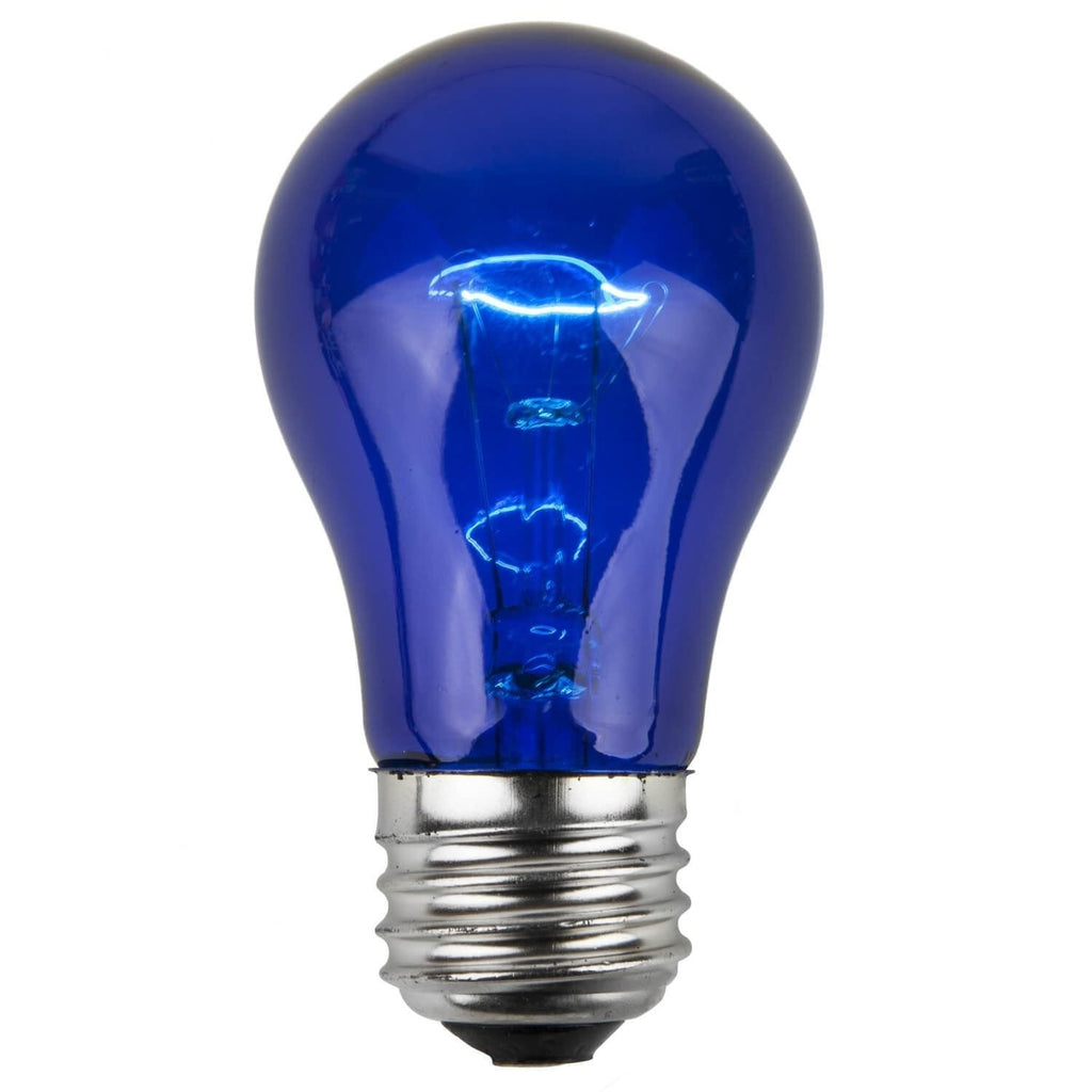 A15 Blue Transparent Bulbs - E26 Medium Base - Box of 25