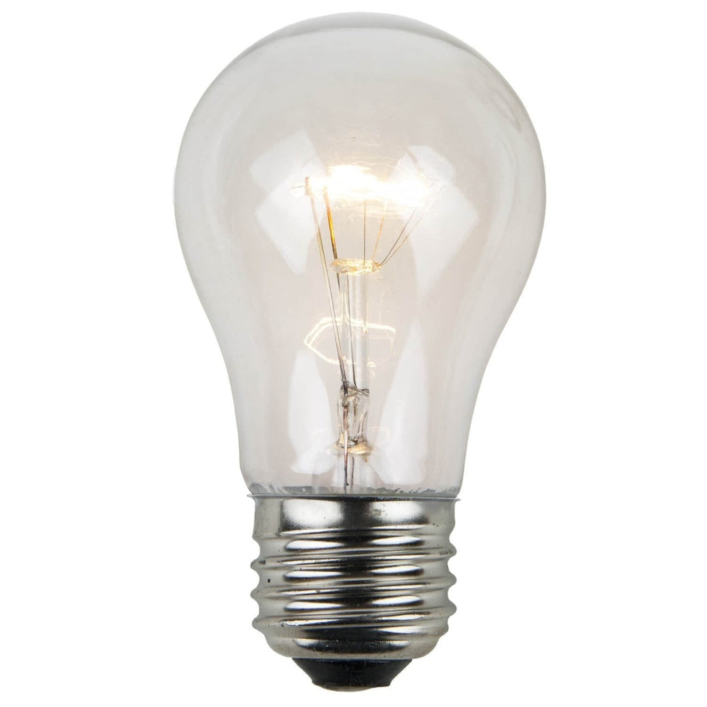 A15 Clear Transparent Bulbs - E26 Medium Base - Box of 25