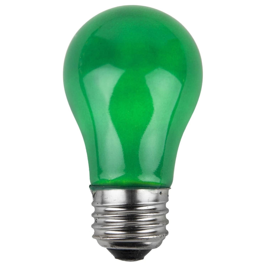 A15 Green Opaque Bulbs - E26 Medium Base - Box of 25