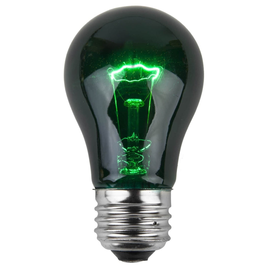 A15 Green Transparent Bulbs - E26 Medium Base - Box of 25