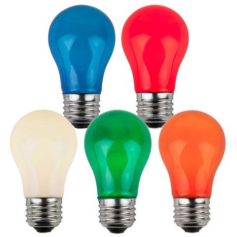 A15 Multicolor Opaque Bulbs - E26 Medium Base - Box of 25