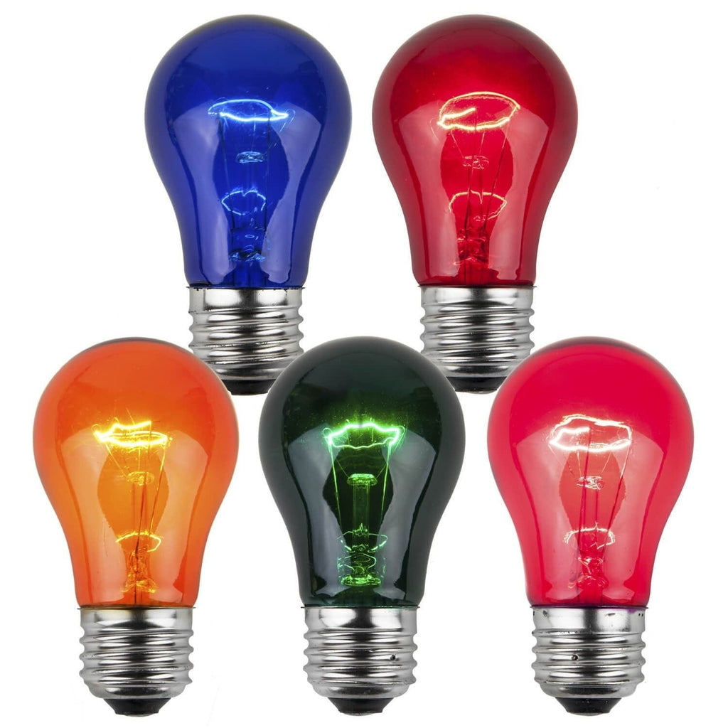 A15 Multicolor Transparent Bulbs - E26 Medium Base - Box of 25