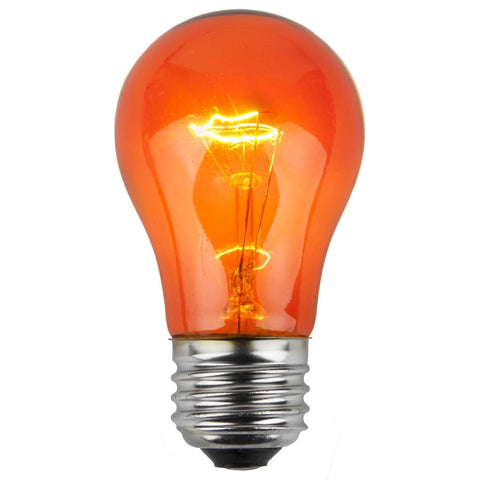 A15 Orange Transparent Bulbs - E26 Medium Base - Box of 25