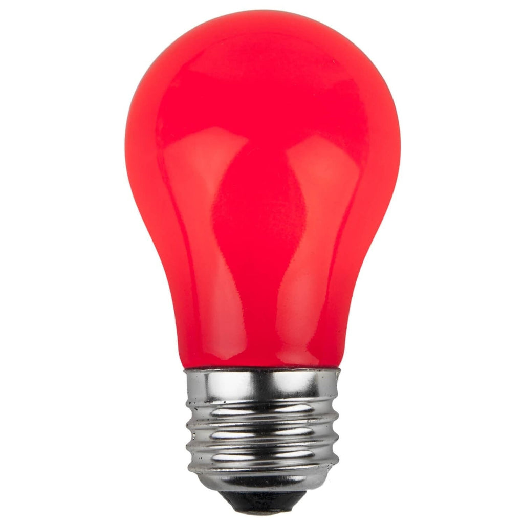 A15 Red Opaque Bulbs - E26 Medium Base - Box of 25