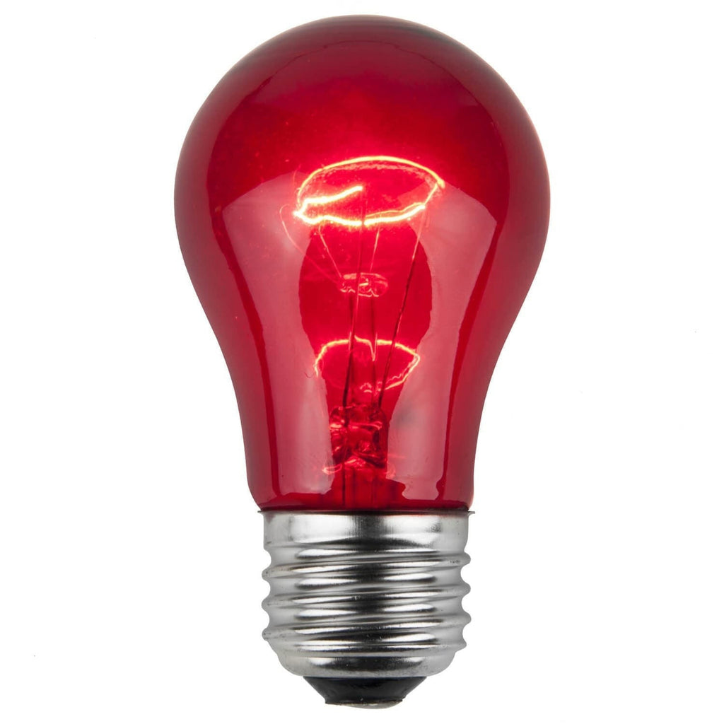 A15 Red Transparent Bulbs - E26 Medium Base - Box of 25