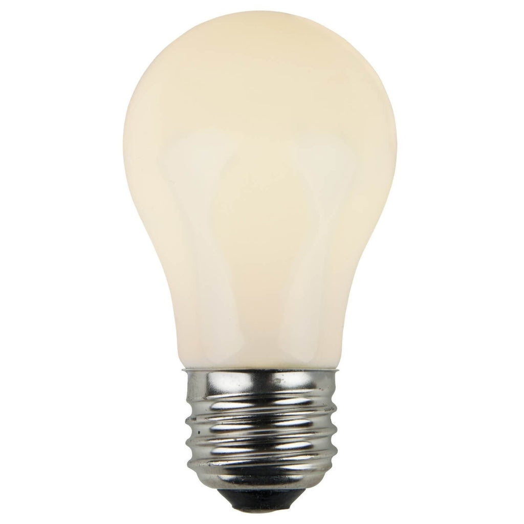A15 White Opaque Bulbs - E26 Medium Base - Box of 25