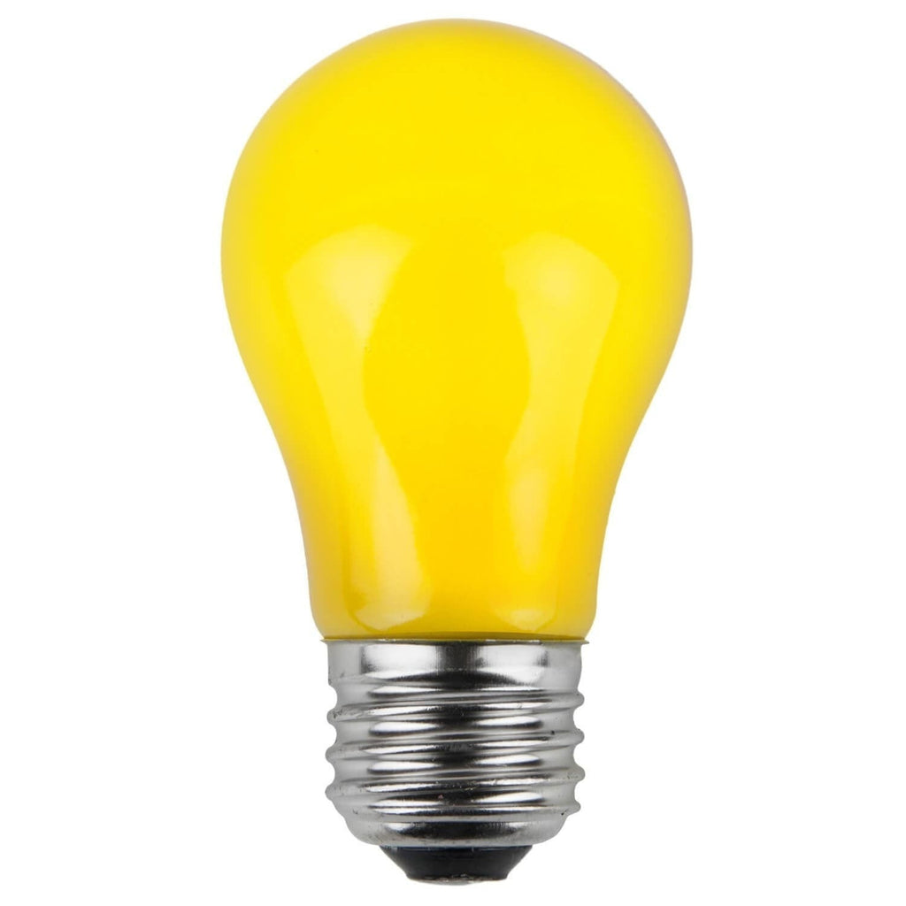 A15 Yellow Opaque Bulbs - E26 Medium Base - Box of 25