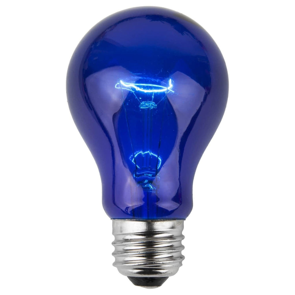 A19 Blue Transparent Bulbs - E26 Medium Base - Box of 25