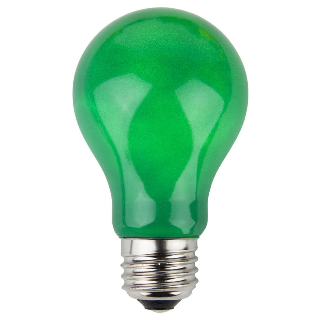 A19 Green Opaque Bulbs - E26 Medium Base - Box of 25