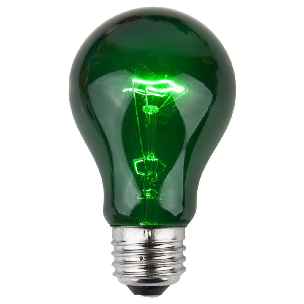 A19 Green Transparent Bulbs - E26 Medium Base - Box of 25