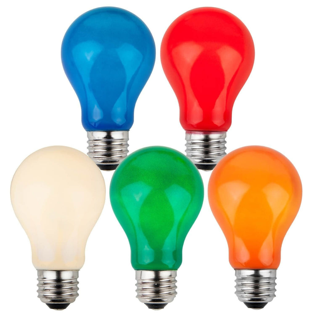 A19 Multicolor Opaque Bulbs - E26 Medium Base - Box of 25
