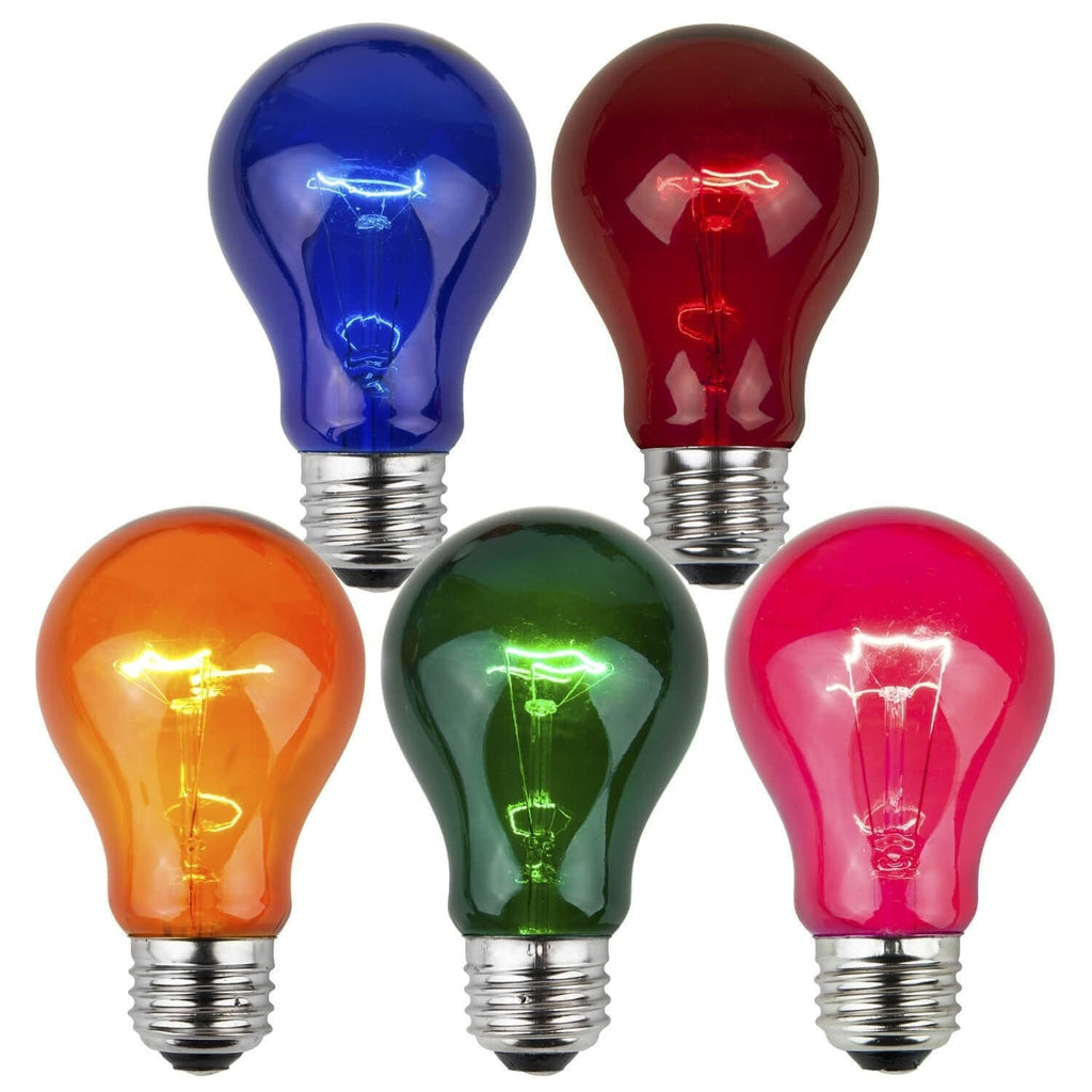 A19 Multicolor Transparent Bulbs - E26 Medium Base - Box of 25