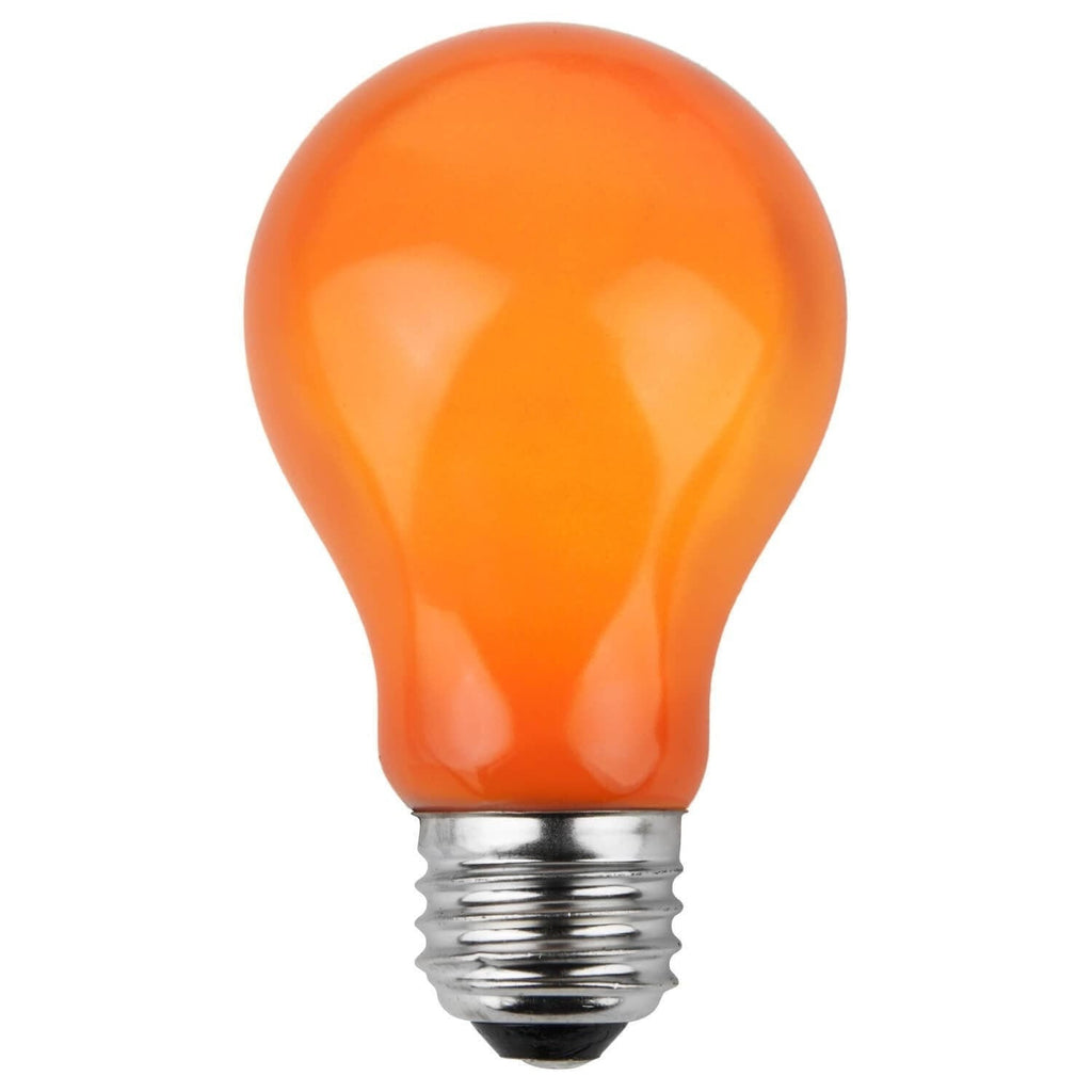 A19 Orange Opaque Bulbs - E26 Medium Base - Box of 25