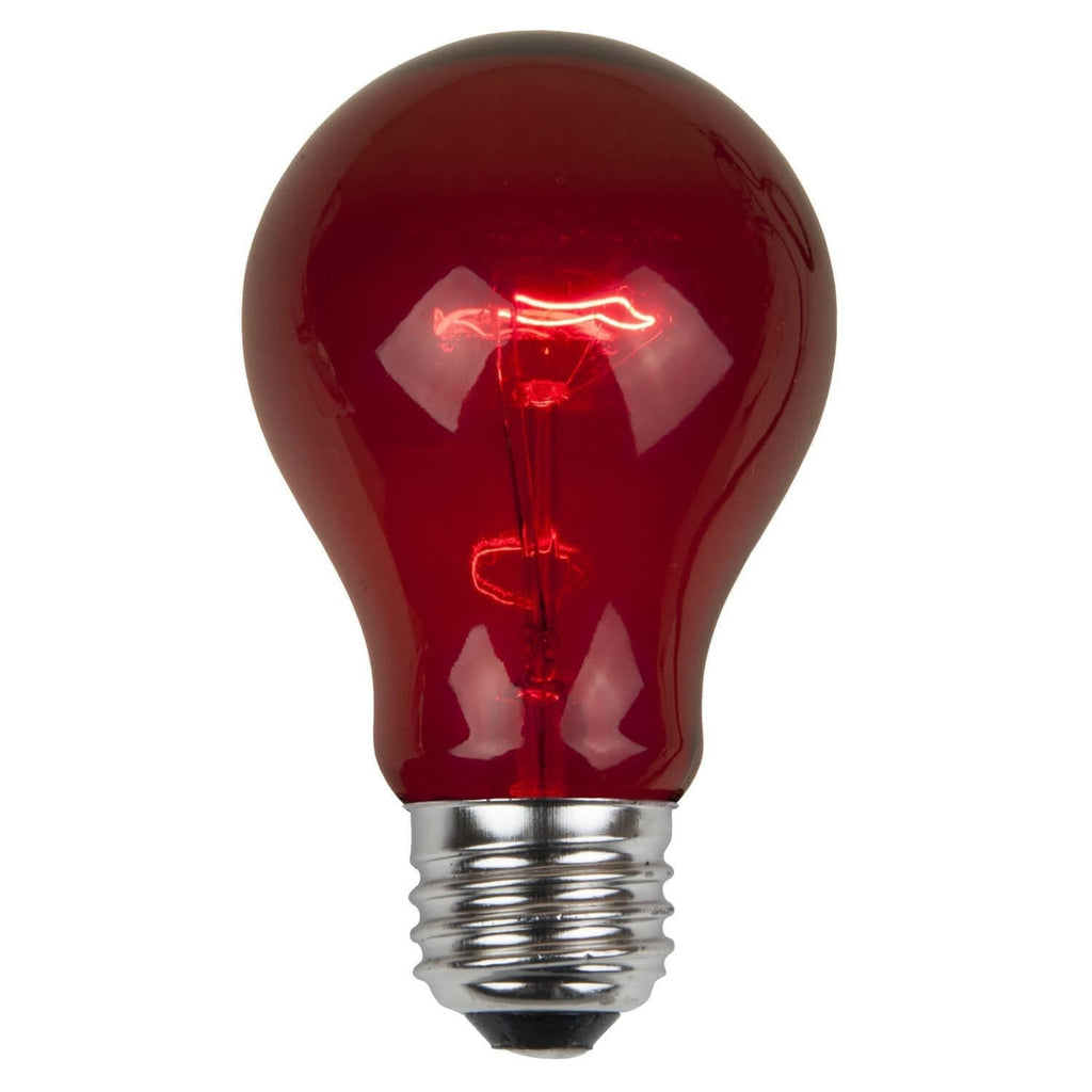A19 Red Transparent Bulbs - E26 Medium Base - Box of 25