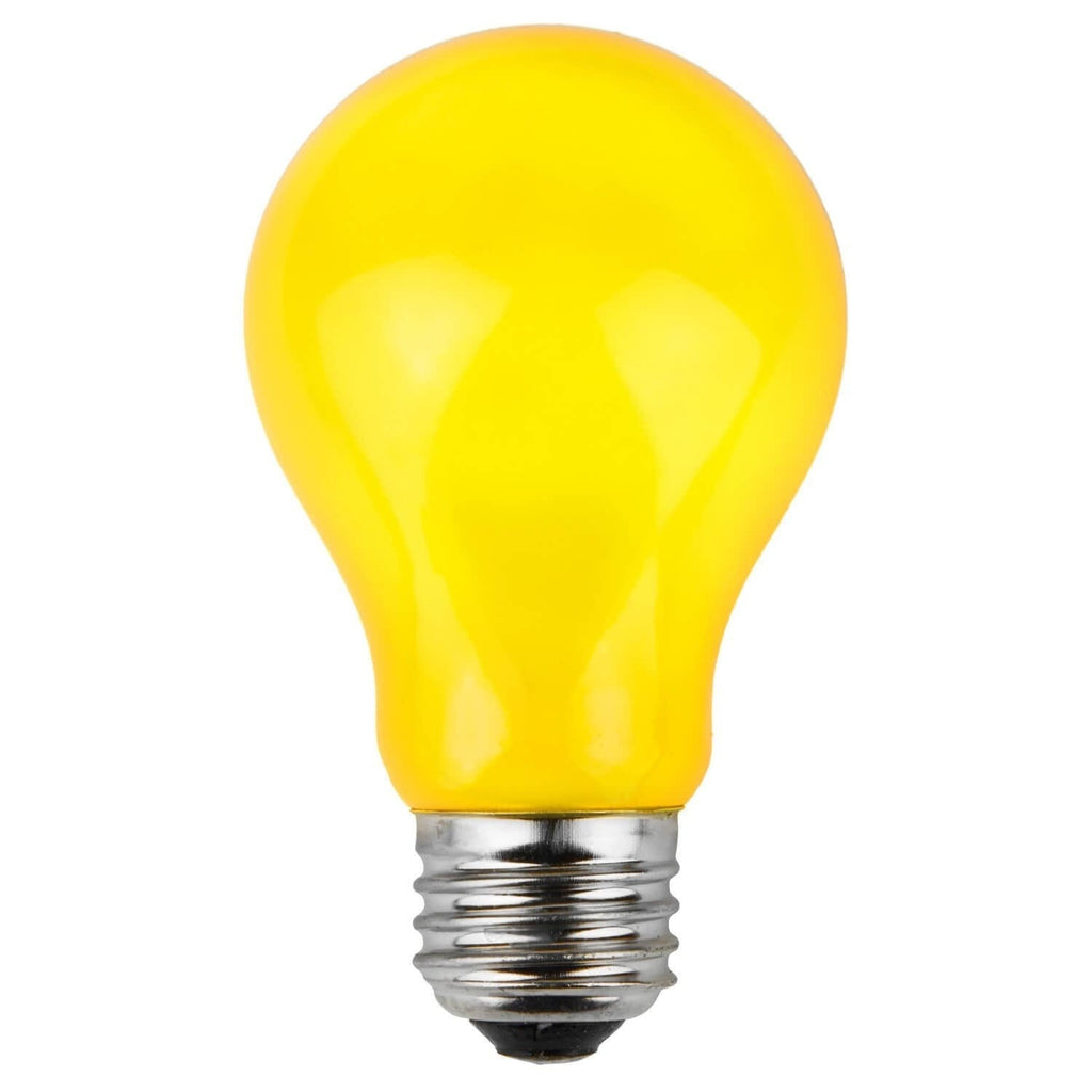 A19 Yellow Opaque Bulbs - E26 Medium Base - Box of 25