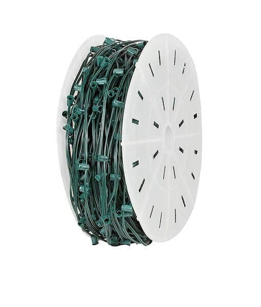 "C7 Christmas Light Spool - 1,000' , 6"" Spacing - Green Wire"