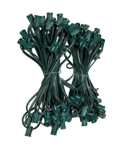 "C7 Christmas Light Stringer - 100' - 12"" Spacing - Green Wire"