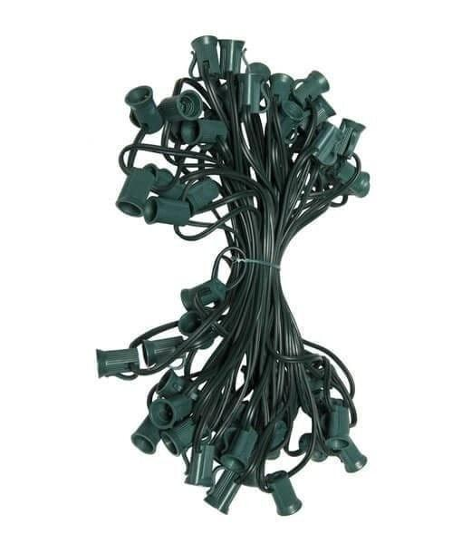 "C7 Christmas Light Stringer - 50' - 6"" Spacing - Green Wire"
