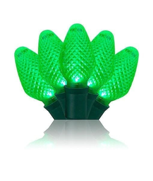 "C7 Green LED Christmas Lights - 25 Bulbs - 8"" Spacing"