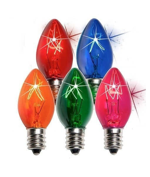 C7 Multicolor Twinkle Christmas Light Bulbs - Transparent - Pack of 25