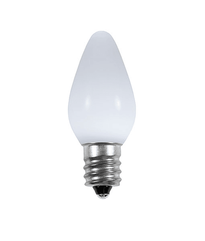 C7 Pure White LED Christmas Light Bulbs - Smooth Opaque - Pack of 25