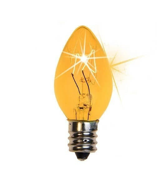 C7 Twinkle Triple Dipped Transparent Yellow, 7 Watt Light Bulbs - Pack of 25