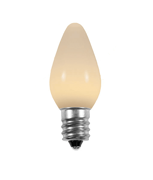 C7 Warm White LED Christmas Light Bulbs - Smooth Opaque - Pack of 25