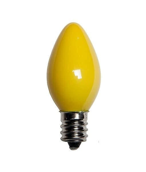 C7 Yellow Christmas Light Bulbs - Opaque - Pack of 25