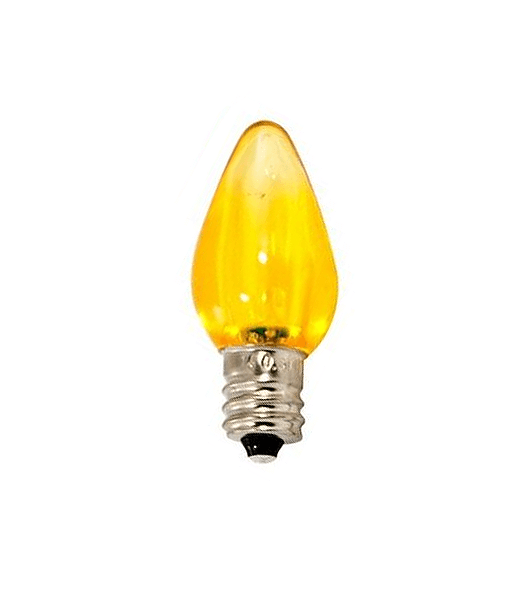 C7 Yellow LED Christmas Light Bulbs - Smooth Transparent - Pack of 25 [CLOSEOUT]