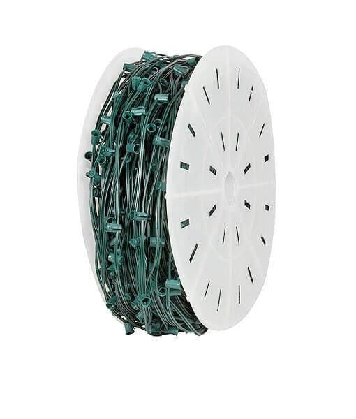 "C9 Christmas Light Spool - 1,000' - 18"" Spacing - Green Wire"