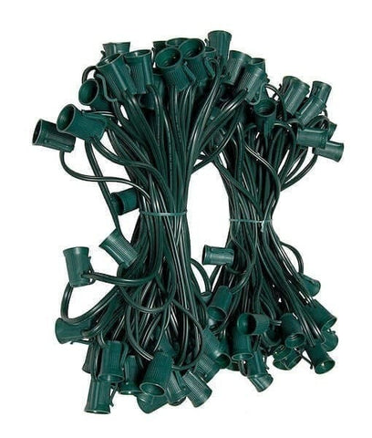 "C9 Christmas Light Stringer - 100' , 12"" Spacing - Green Wire"