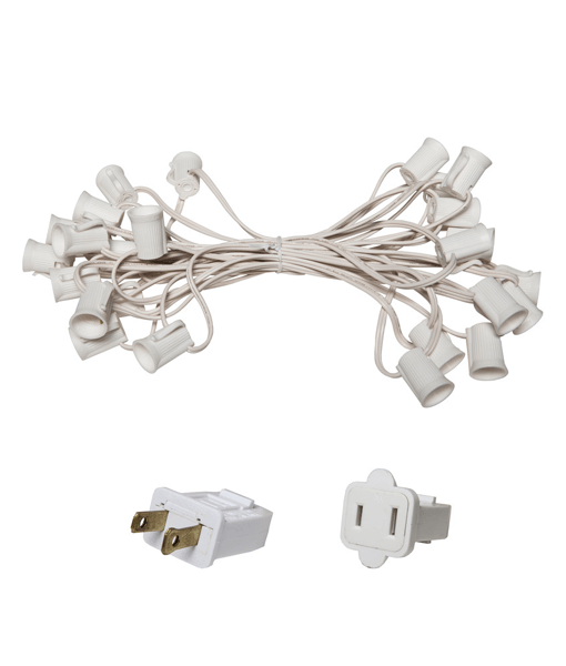 "C9 Christmas Light Stringer - 25' , 12"" Spacing - White Wire"