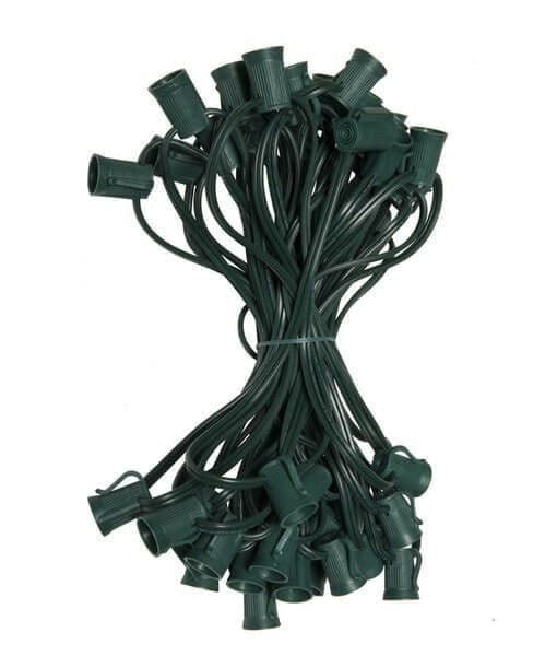 "C9 Christmas Light Stringer - 50' - 12"" Spacing - Green Wire"