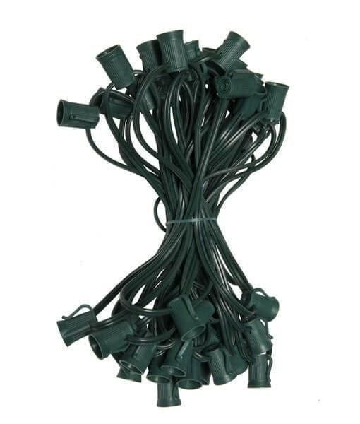 "C9 Christmas Light Stringer - 50' - 6"" Spacing - Green Wire"