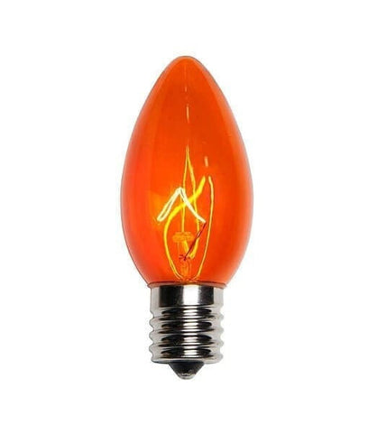 C9 Orange Christmas Light Bulbs - Transparent - Pack of 25