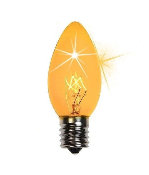 C9 Twinkle Triple Dipped Transparent Yellow, 7 Watt Light Bulbs -Pack of 25