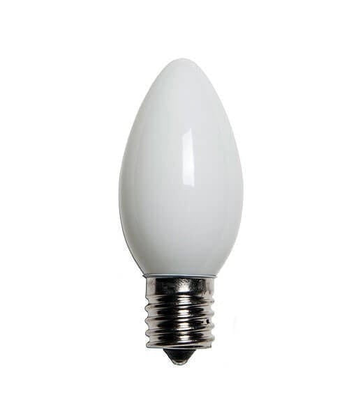 C9 White Christmas Light Bulbs - Opaque - Pack of 25
