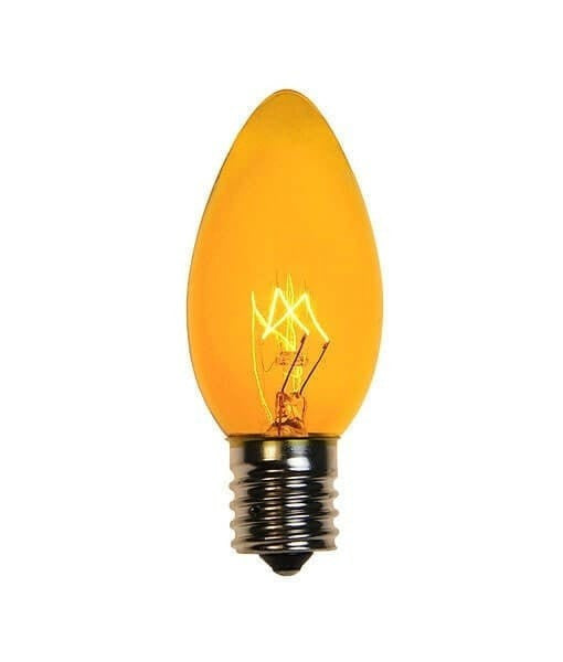 C9 Yellow Christmas Light Bulbs - Transparent - Pack of 25