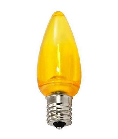 C9 Yellow LED Christmas Light Bulbs - Smooth Transparent - Pack of 25