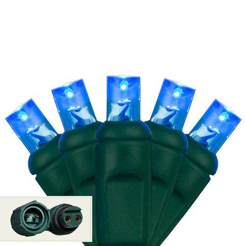 "Commercial 5mm Blue LED Christmas Lights - 25 Bulbs - 4"" Spacing"