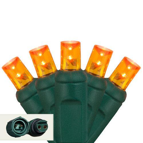 "Commercial 5mm Orange / Amber LED Christmas Lights - 25 Bulbs - 4"" Spacing"