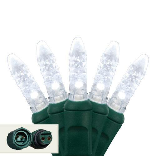 "Commercial M5 Cool White LED Christmas Lights - 25 Bulbs - 4"" Spacing"