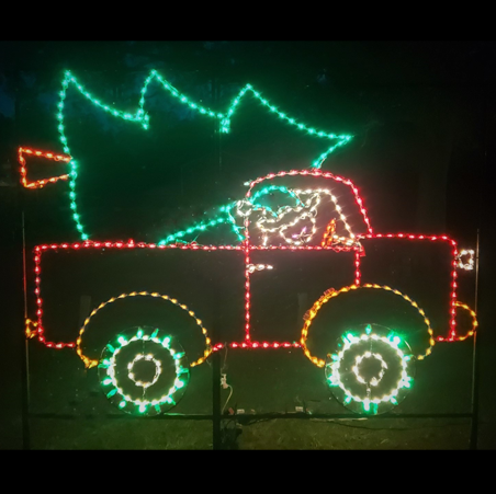 Elf In Truck With Christmas Tree