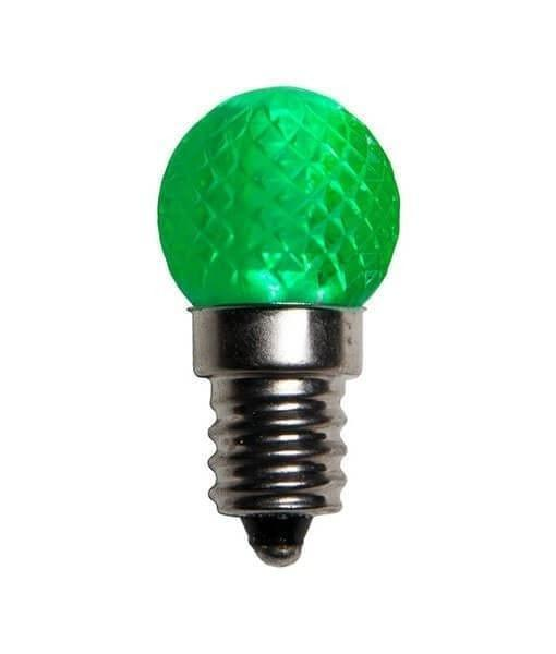G20 Green LED Bulbs - C7/E12, Non-Dimmable - Pack of 25