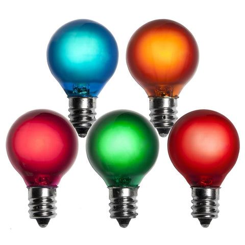 G30 Multicolor Satin Bulbs - E12 / C7 Base - Box of 25