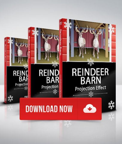 Garage Door Reindeer Barn - Projection Effect - Digital Download