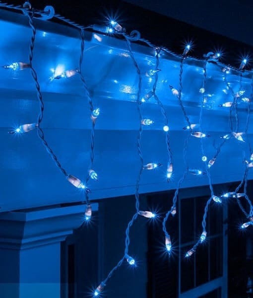 Icicle Lights - Blue - 100 Bulbs - 6.5' - White Wire
